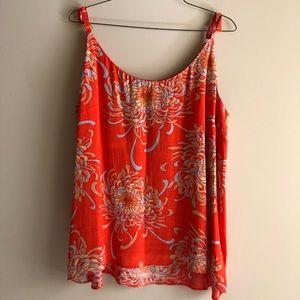 CAbi Orange Floral Blouse